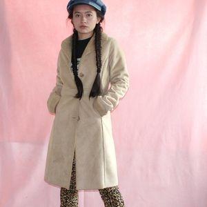 Boho Beige Sherpa Lined Knee Length Jacket